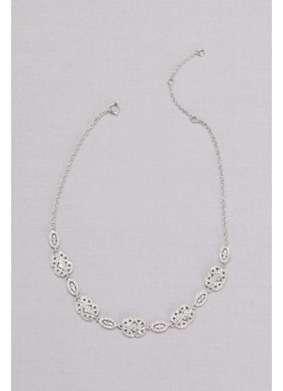 Pave Crystal Filigree Medallion Necklace - Intricate crystal filigree medallions hang from a slim