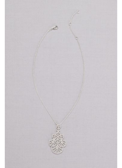 Mini Crystal Fan Pendant Necklace - Wedding Accessories