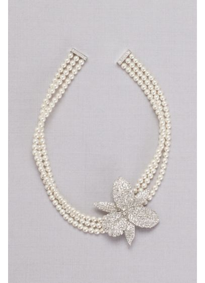 Pearl Choker with Pave Crystal Orchid - Wedding Accessories