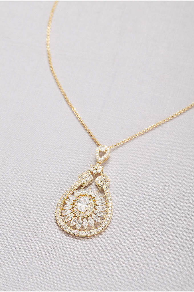 Crystal Web Pendant Necklace - Crystals large and small cover this necklace's intricate