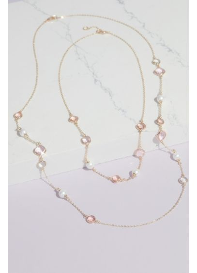 Crystal and Pearl Chain Necklace - Wedding Accessories