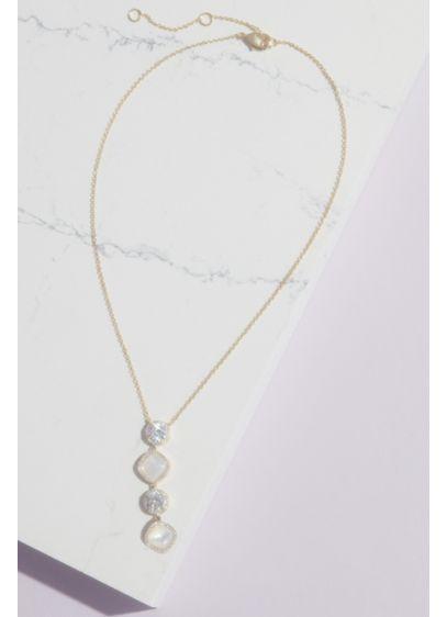 Haloed Crystal and Cabochon Y Necklace - Wedding Accessories