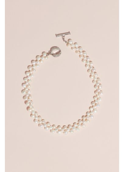 Cultured Pearl Necklace with Crystal Toggle - Patterned rows of cultured freshwater pearls make up
