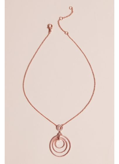 Dangling Concentric Pave Hoops Pendant Necklace - Make a statement in this modern, ultra-cool pendant