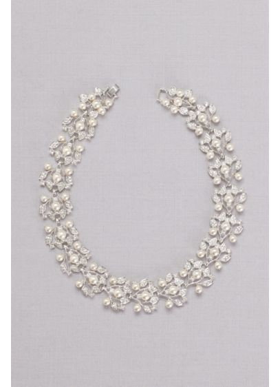 Pearl and Pave Crystal Leaves Choker - Lustrous pearls and pave crystal leaves create an