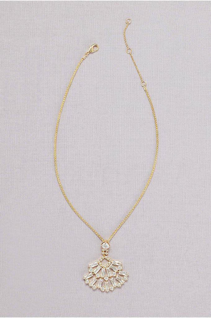 Crystal Baguette Pendant Necklace - Two fan-shaped rows of crystal baguettes sparkle from