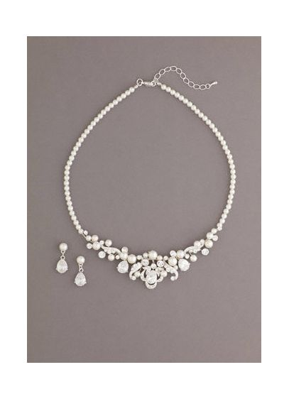 Pearl Set Accented with Oval Shaped Crystals - Wedding Accessories