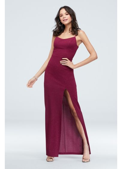 Glitter Stretch-Knit Lace-Up Gown with Slit Skirt - Add some sparkle to the party in this