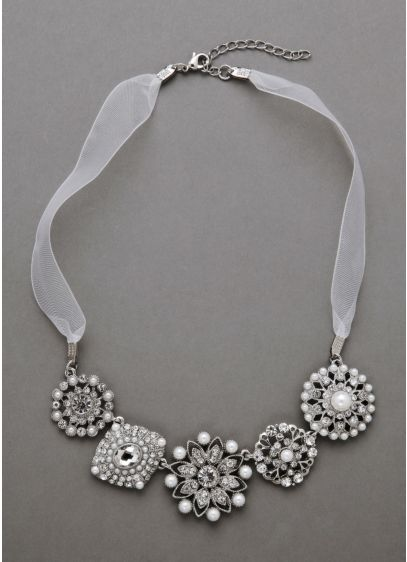 Organza and Pearl Mixed Media Necklace - Wedding Accessories