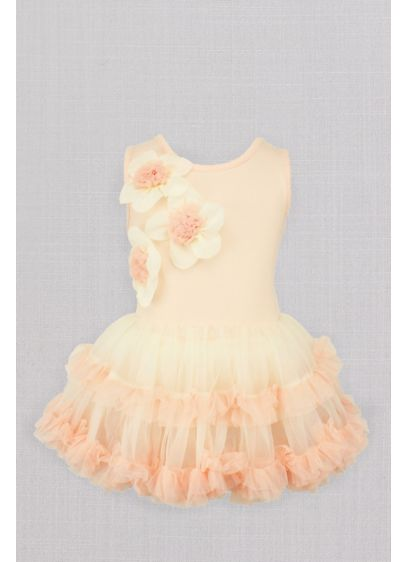 3D Floral Ruffled Petticoat Flower Girl Dress - She'll twirl the day away in this sweet