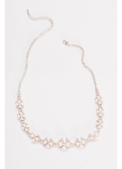 Blush Pearl and Rhinestone Cluster Necklace - Wedding Accessories