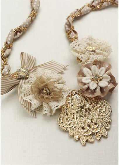Mixed Media Fabric Flower Necklace - Wedding Accessories