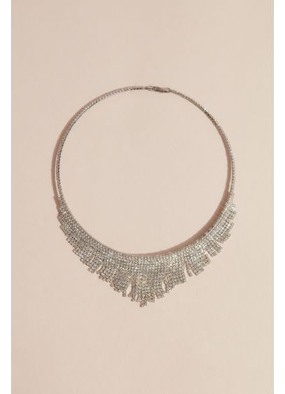 Pointed Crystal Fringe Collar Necklace - Wedding Accessories