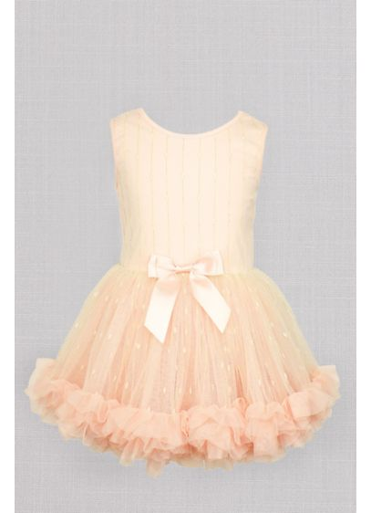 Dotted Overlay Flower Girl Tutu Dress with Bow - Featuring three layers of ruffles and a dotted