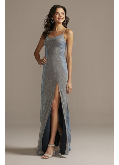 Glitter Knit Spaghetti Strap Dress with Skirt Slit - Enter the room with a sparkling statement in