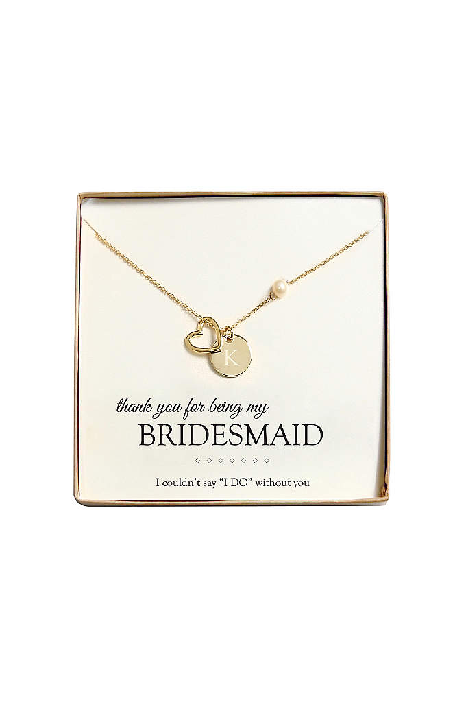 Personalized Open Heart Charm Necklace - With a charm and freshwater pearl, our Open