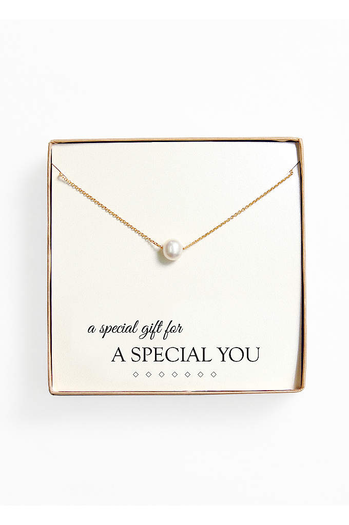 Personalized Floating Pearl Necklace - Our Floating Pearl Necklace provides an elegant finish