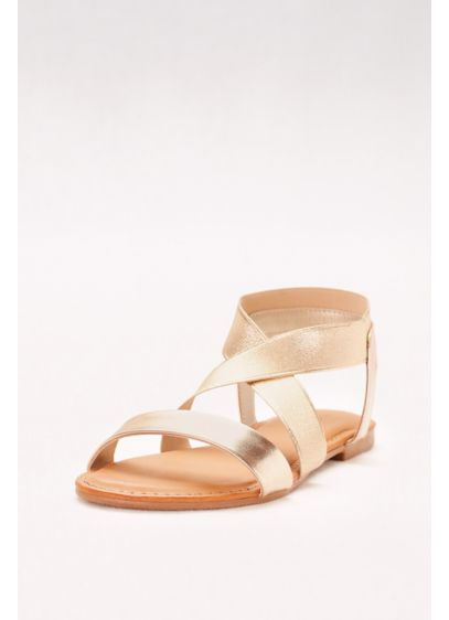 Bamboo Yellow (Metallic Sandals with Crossed Elastic Straps)