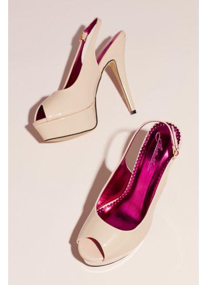 Beige (Patent Slingback Peep-Toe Platform Heels)