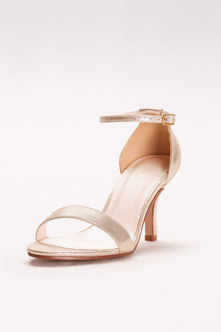 c695a75a58ab David s Bridal Grey Pink Yellow Heeled Sandals (Single Strap Sandal)