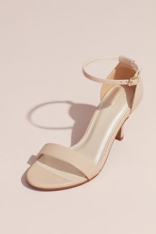 David's Bridal Beige;Grey;Pink;Yellow Heeled Sandals (Single Strap Sandal)