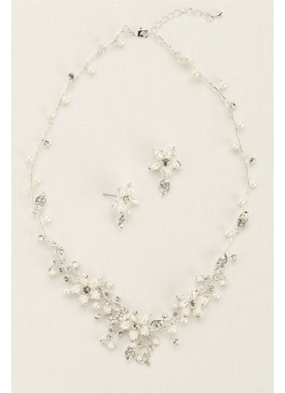 Crystal and Pearl Floral Necklace and Earring Set - Wedding Accessories