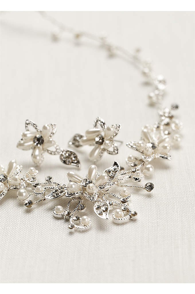Crystal and Pearl Floral Necklace and Earring Set - Finish off your look with this stunning crystal