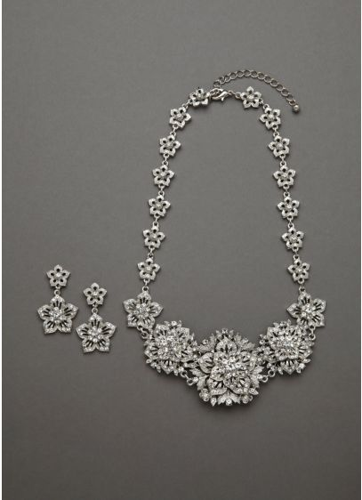 Bold Crystal Flower Necklace and Earring Set - Wedding Accessories