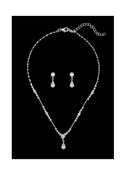 Silver Crystal Drop Necklace and Earring Set - Wedding Accessories