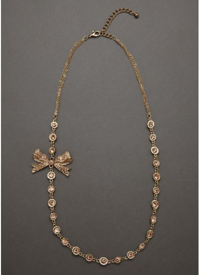 Gold Necklace with Colored Stone Detail and Bow - Wedding Accessories