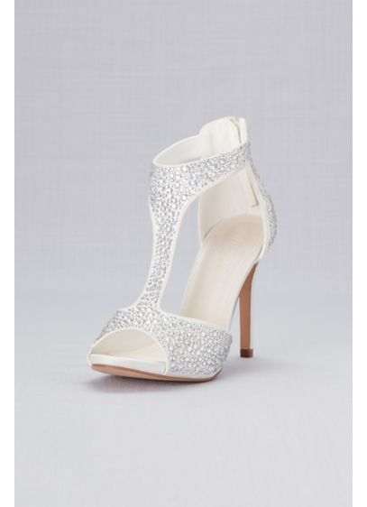 David's Bridal White (Crystal-Detailed Peep-Toe Shooties)