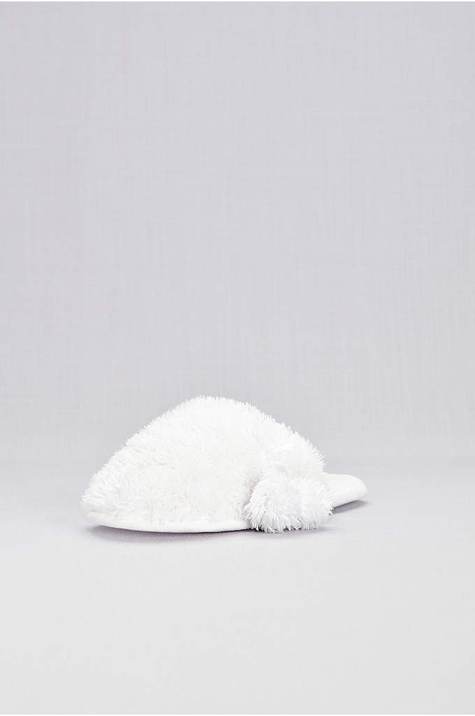 Fuzzy Faux-Fur Pom Pom Slippers - Kick up your tired feet in this pair