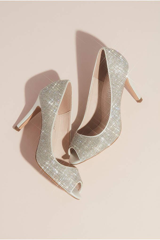 Allover Crystal Embellished Peep Toe Heels