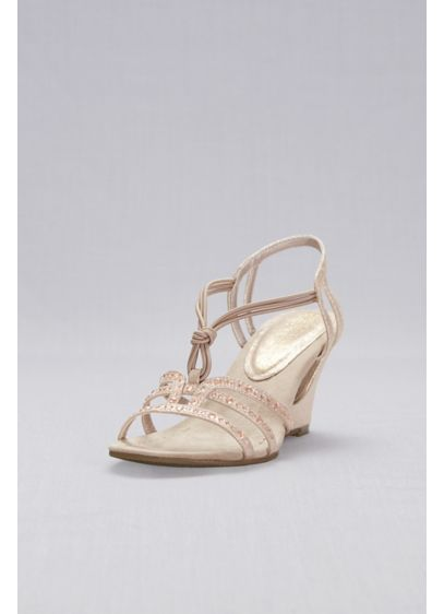 New York Transit Beige (Crystal-Studded Cutout Wedges with Knotted Vamp)
