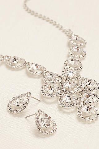 Set de Collar y Aretes de Cristales en Forma de Gota