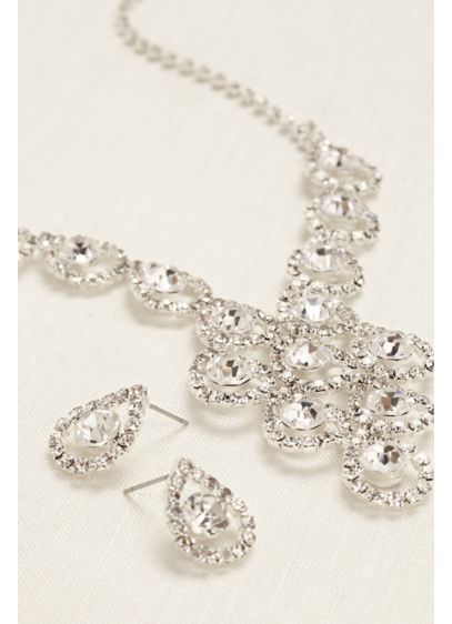Tear Drop Pave Necklace and Earring Set - Wedding Accessories