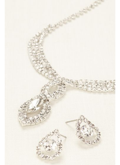 David's Bridal White (Woven Pave Crystal Necklace and Earring Set)