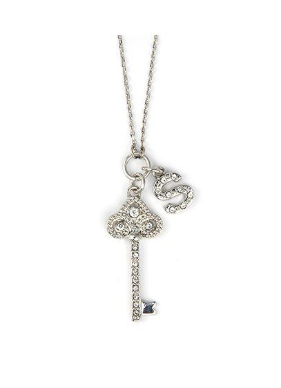 DB Excl Personalized Fleur De Lis Key Necklace | David\'s Bridal