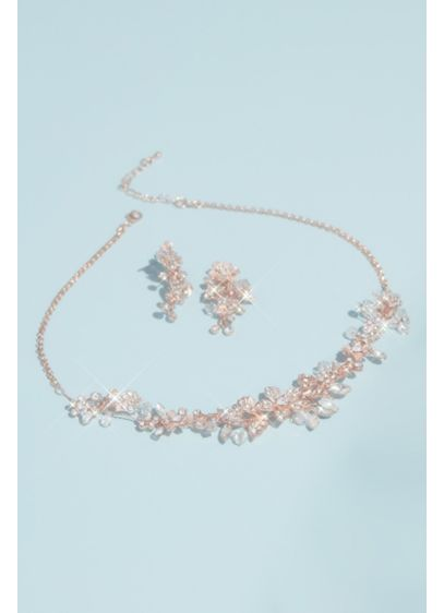 Pink (Handwired Crystal Floral Necklace and Earrings Set)