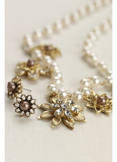 Multi Stone Floral Necklace and Earring Set - Wedding Accessories
