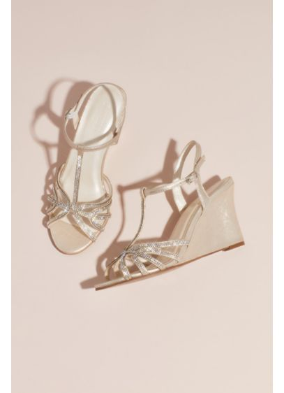 Metallic Crystal T-Strap Wedges - Rhinestones sparkle from the strappy vamp of these