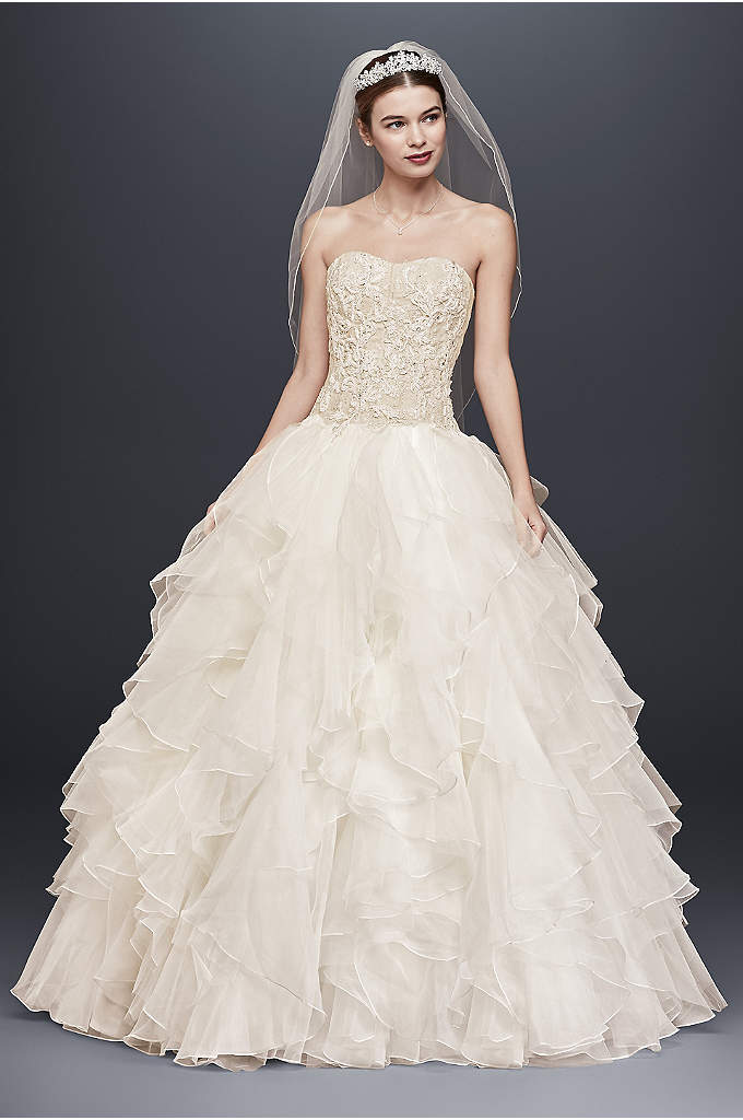 Lace and Organza Ruffled Skirt Wedding Dress - Picture your guests' reactions when you arrive in