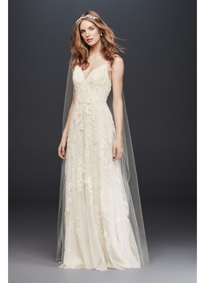 A-Line Wedding Dress with Double Straps - Appliqued with pearl-centered blush flowers, this scalloped-bodice gown