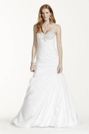 Strapless taffeta wedding dress with beaded bust davids bridal junglespirit Gallery