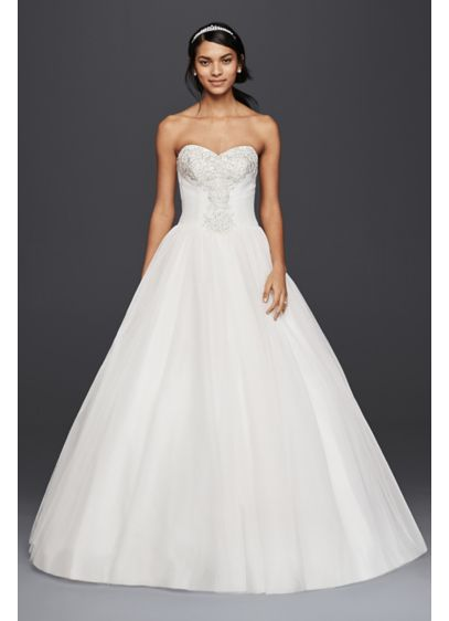 819225b1f15d Strapless Tulle Ball Gown with Beaded Lace Bodice. NTWG3804. Long Ballgown  Formal Wedding Dress - David's Bridal Collection
