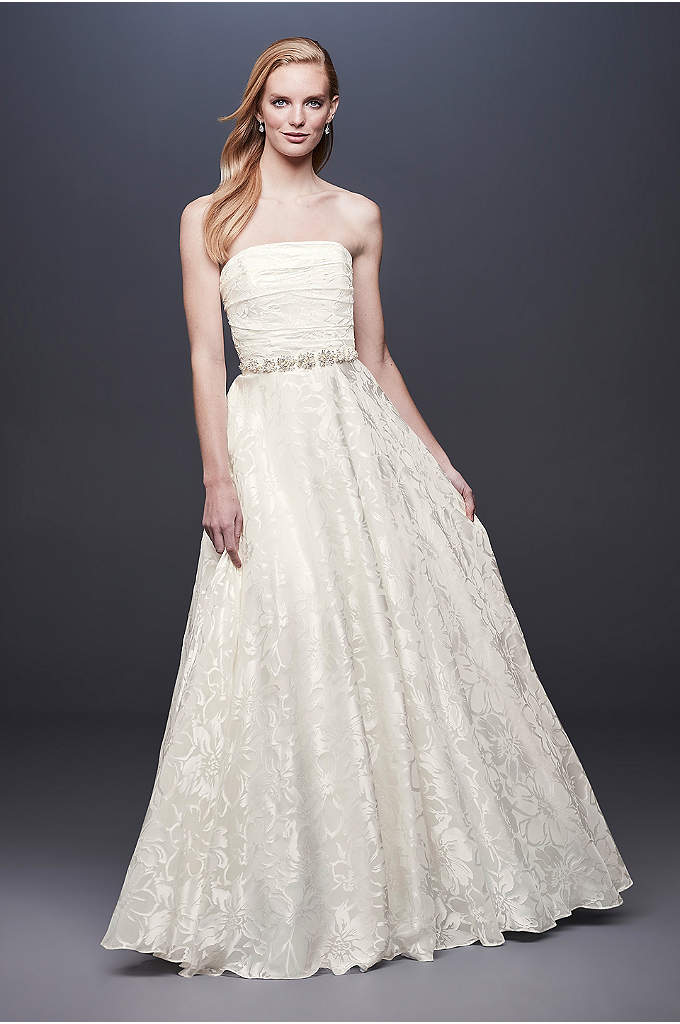 Floral Printed Organza A-line Wedding Dress - A subtle floral print adds just enough luster