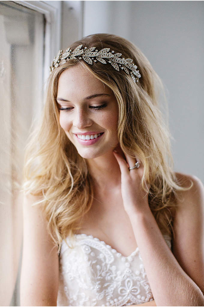 Crystal-Encrusted Laurel Leaf Halo Headband - This beautifully bold halo headband features a laurel