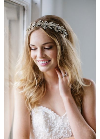 Crystal-Encrusted Laurel Leaf Halo Headband - Wedding Accessories