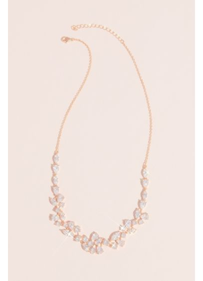 Marquise Pear and Circle Crystal Necklace - Delicate yet dramatic, this collar necklace features clusters