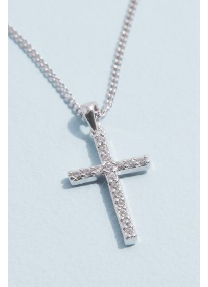 Grey (Cubic Zirconia Cross Pendant Necklace)